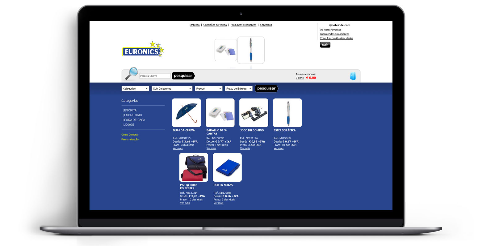 Loja Virtual - Linha de Produtos e Merchandising - Euronics
